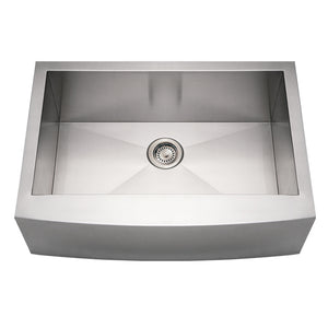 Whitehaus Noah's Collection Brushed Stainless Steel Commercial Single Bowl Sink with an Arched Front Apron