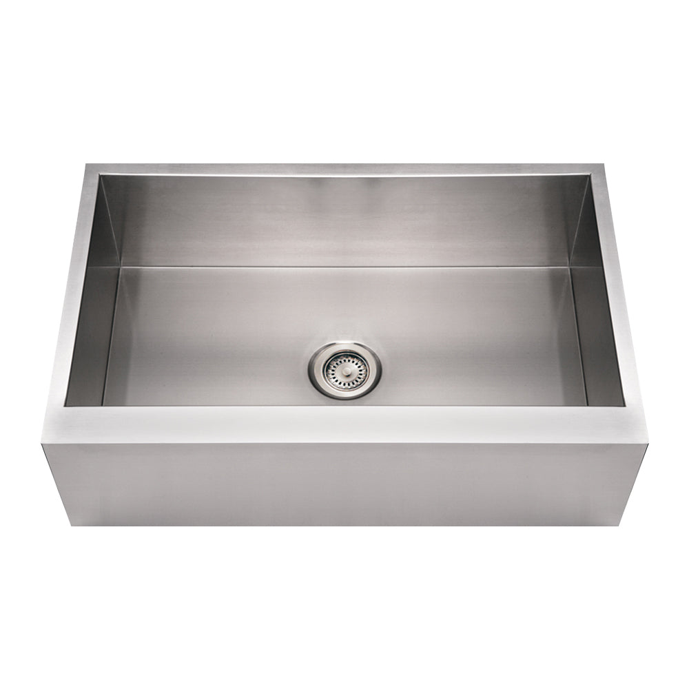 Whitehaus Noah's Collection Brushed Stainless Steel Commercial Single Bowl Front Apron Sink