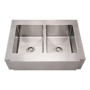 Whitehaus Noah's Collection Brushed Stainless Steel Commercial Double Bowl Sink with a Decorative Notched Front Apron