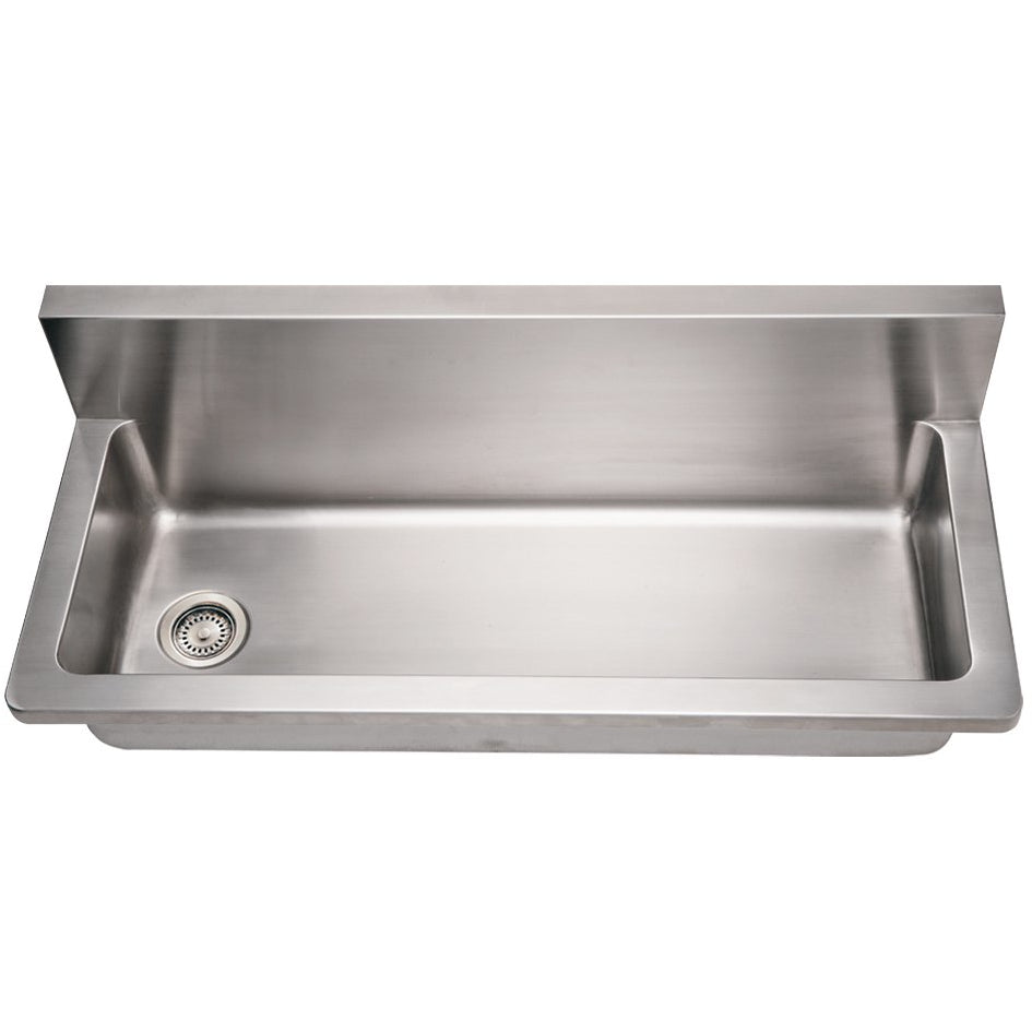 Whitehaus Noah's Collection Brushed Stainless Steel Commercial Single Bowl Wall Mount Utility Sink