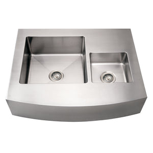 Whitehaus Noah's Collection Brushed Stainless Steel Commercial Double Bowl Sink with an Arched Front Apron