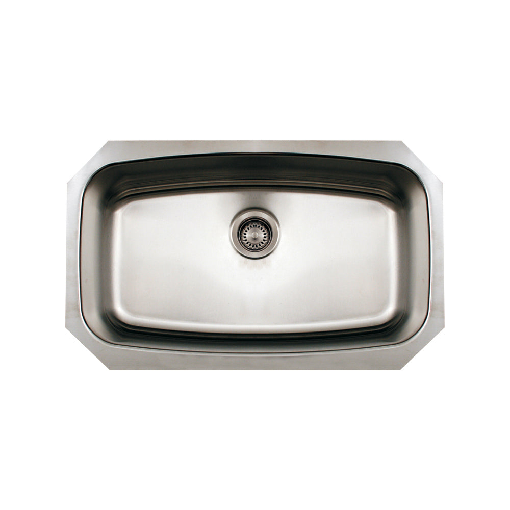 Whitehaus Noah's Collection Brushed Stainless Steel Oval Single Bowl Undermount Sink