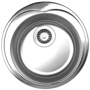Whitehaus Noah's Collection Brushed Stainless Steel Large Round Drop-in Sink