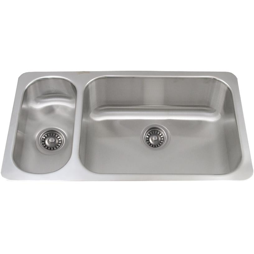 Whitehaus Noah's Collection Brushed Stainless Steel Double Bowl Undermount Disposal Sink