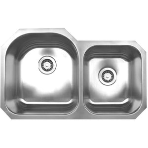 Whitehaus Noah's Collection Brushed Stainless Steel Double Bowl Undermount Sink