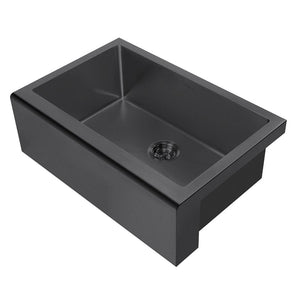 Whitehaus Noah Plus 16 gauge Single Bowl Matte Textured Undermount Sink Set with a seamless customized front Apron