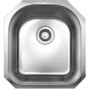 Whitehaus Noah's Collection Brushed Stainless Steel Single D-Shaped Bowl Undermount Sink