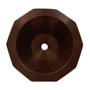 "Whitehaus Copperhaus Decagon Shaped Above Mount Copper Bathroom Basin with Smooth Texture and 1 1/2"" center drain"