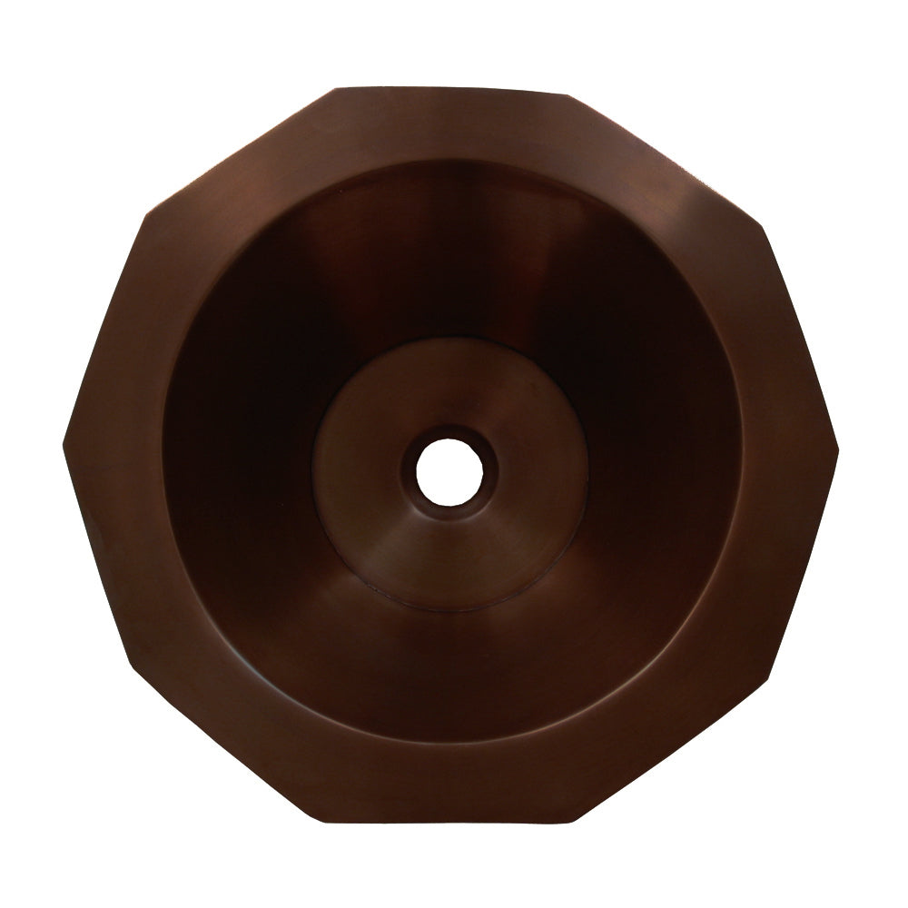 Whitehaus Copperhaus Decagon Shaped Above Mount Copper Bathroom Basin with Smooth Texture and 1 1/2