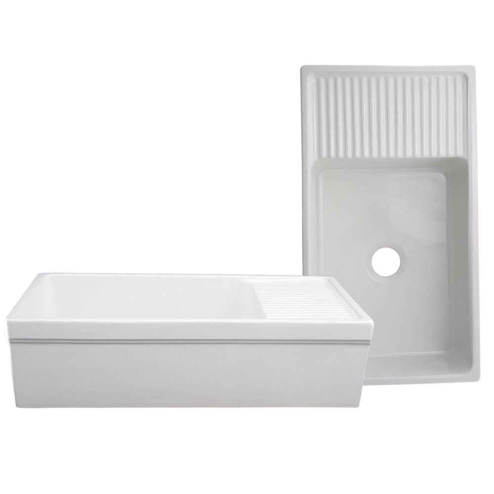 Whitehaus Farmhaus Fireclay Quatro Alcove Large Reversible Sink with Integral Drainboard and Decorative 2 ½