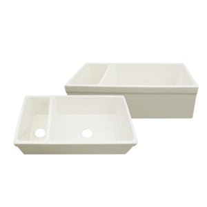 "Whitehaus Farmhaus Fireclay Quatro Alcove Large Reversible Sink and Small Bowl with Decorative 2 ½"" Lip on Both Sides"