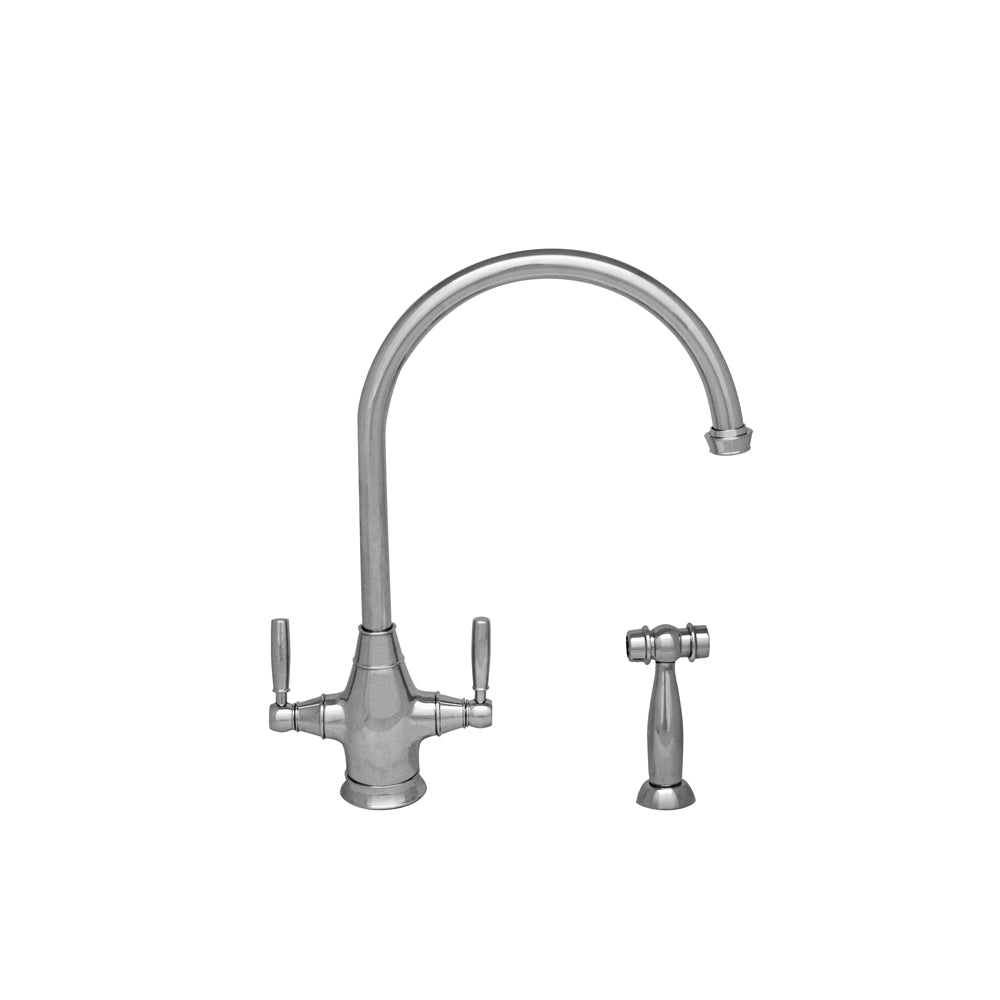 Whitehaus Queenhaus Dual Handle faucet with Long Gooseneck Spout, Solid Lever Handles and Solid Brass Side Spray
