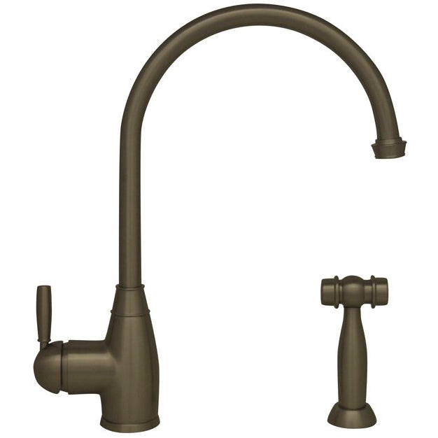 Whitehaus Queenhaus Single Lever Faucet with a Long Gooseneck Spout, Solid Single Lever Handle and Solid Brass Side Spray