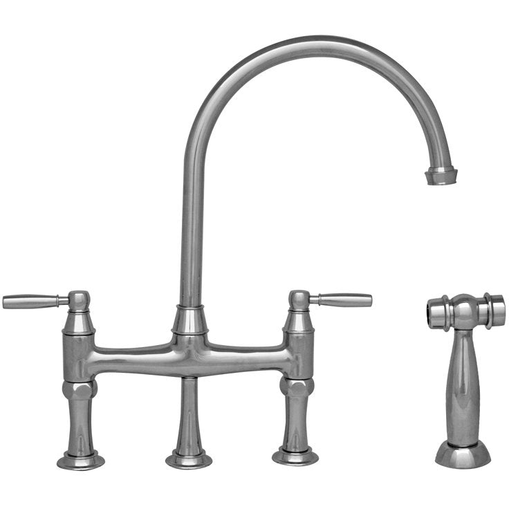 Whitehaus Queenhaus Bridge Faucet with Long Gooseneck Spout, Solid Lever Handles and Solid Brass Side Spray