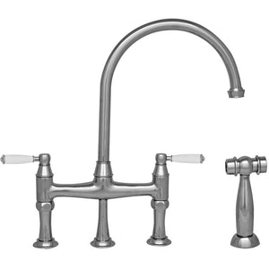 Whitehaus Queenhaus Bridge Faucet with Long Gooseneck Spout, Porcelain Lever Handles and Solid Brass Side Spray