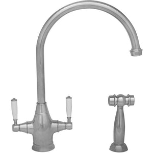 Whitehaus Queenhaus Dual Handle Faucet with Long Gooseneck Spout, Porcelain Lever Handles and Solid Brass Side Spray