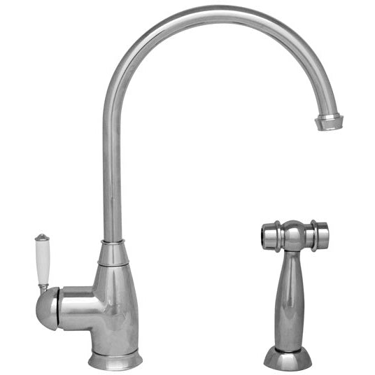 Whitehaus Queenhaus Single Lever Faucet with Long Gooseneck Spout, Porcelain Single Lever Handle and Solid Brass Side Spray