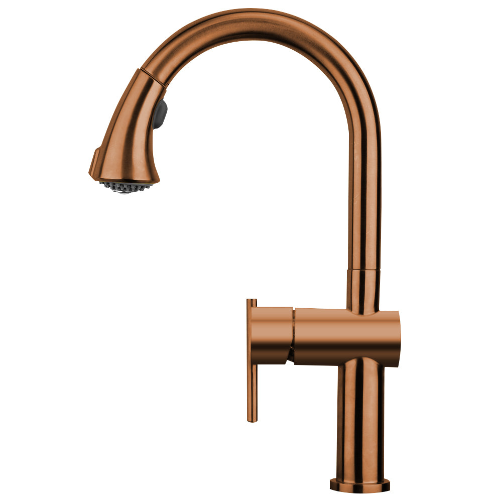 Whitehaus Waterhaus Lead Free Solid Stainless Steel Single-Hole Faucet with Gooseneck Swivel Spout, Pull Down Spray Head and Solid Lever Handle