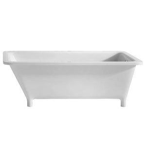 Whitehaus Bathhaus Rectangular Angled Back Freestanding Footed Lucite Acrylic Bathtub with a Chrome Mechanical Pop-up Waste and Right Center End Drain with an Internal Overflow