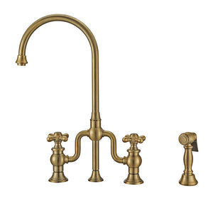 Whitehaus Twisthaus Plus Bridge Faucet with Gooseneck Swivel Spout, Cross Handles and Solid Brass Side Spray
