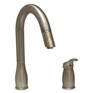 Whitehaus Metrohaus Two Hole Faucet with Independent Single Lever Mixer, Gooseneck Swivel Spout and Pull-Down Spray Head