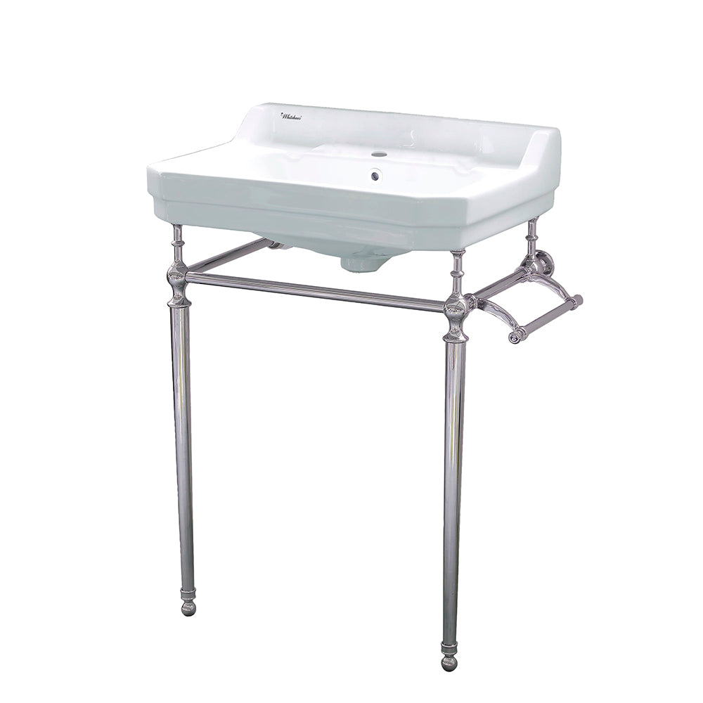 Whitehaus Victoriahaus console with integrated rectangular bowl with single hole drill, Polished Nickel leg support, interchangable towel bar, backsplash and overflow
