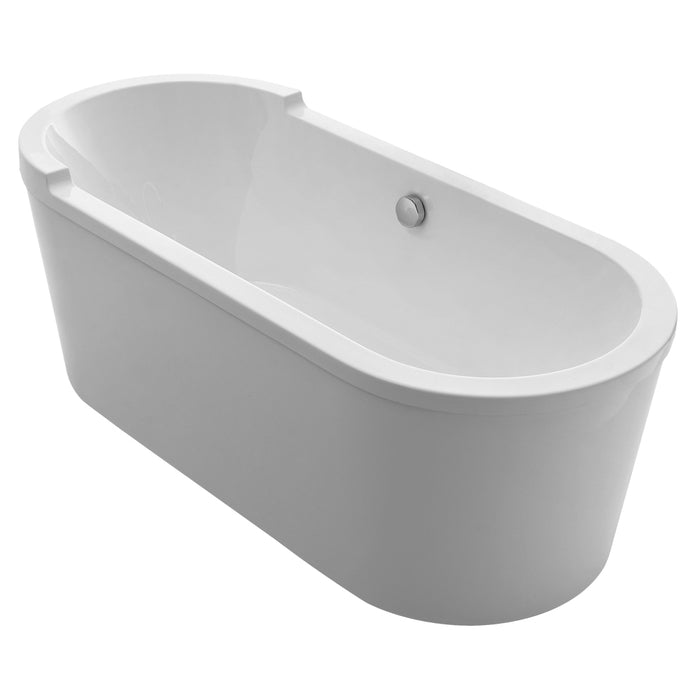 Whitehaus Bathhaus Oval Double Ended Single Sided Armrest Freestanding Lucite Acrylic Bathtub with a Chrome Mechanical Pop-up Waste and a Chrome Center Drain with Internal Overflow