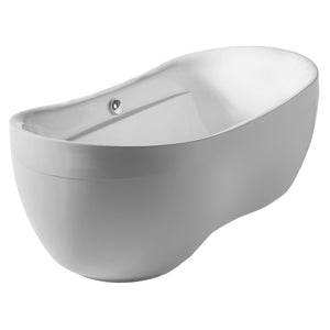 Whitehaus Bathhaus Oval Double Ended Lucite Acrylic Freestanding Bathtub with Curved Rim and a chrome mechanical pop-up waste and chrome center drain with internal overflow