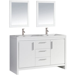 "MTD Vanities Miami 60"" Double Sink Bathroom Vanity Set, White"