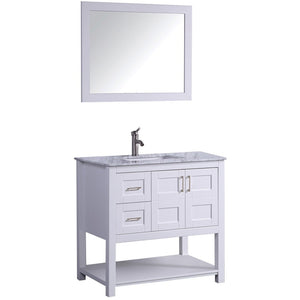 "MTD Vanities Norway 36"" Single Sink Bathroom Vanity Set, White"