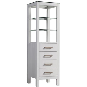 "MTD Vanities Cuba 15.5"" Bathroom Storage Linen Tower, White"