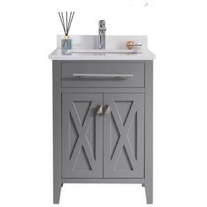 Wimbledon - 24 - Grey Cabinet + White Quartz Counter by Laviva