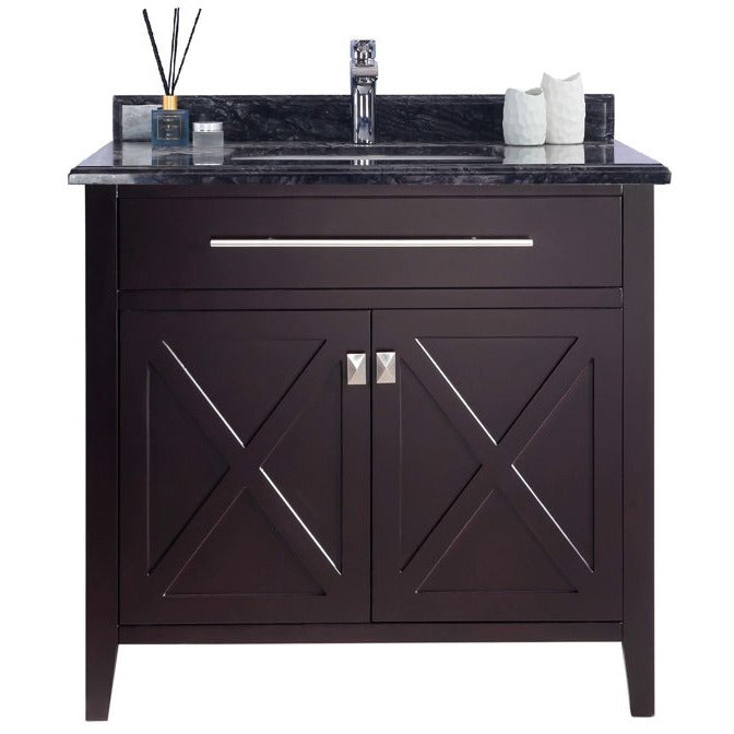 Wimbledon - 36 - Brown Vanity and Black Wood Counter by Laviva