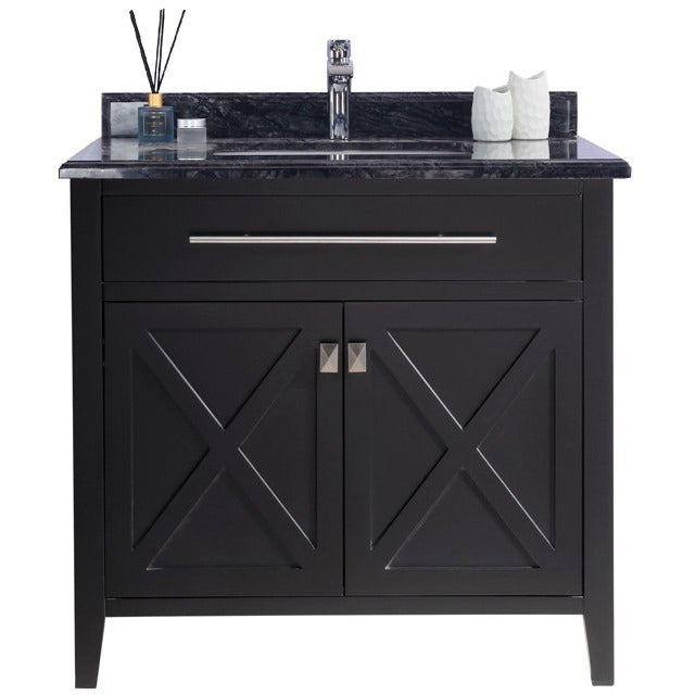 Wimbledon - 36 - Espresso Vanity and Black Wood Counter by Laviva