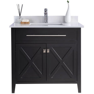 Wimbledon - 36 - Espresso Vanity and White Quartz Counter by Laviva