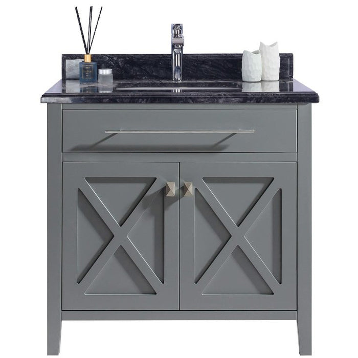 Wimbledon - 36 - Grey Vanity and Black Wood Counter by Laviva