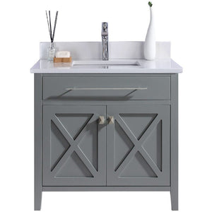Wimbledon - 36 - Grey Vanity and White Quartz Counter by Laviva