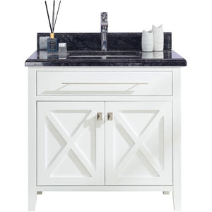 Wimbledon - 36 - White Vanity and Black Wood Counter by Laviva