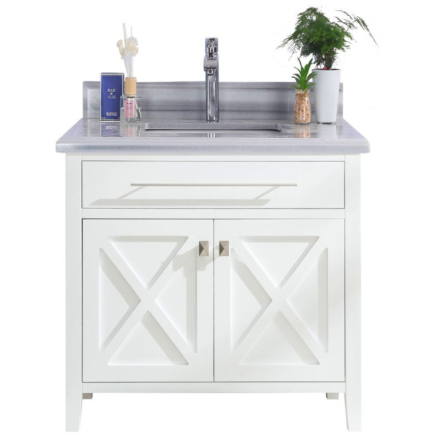 Wimbledon - 36 - White Vanity and White Stripes Counter by Laviva