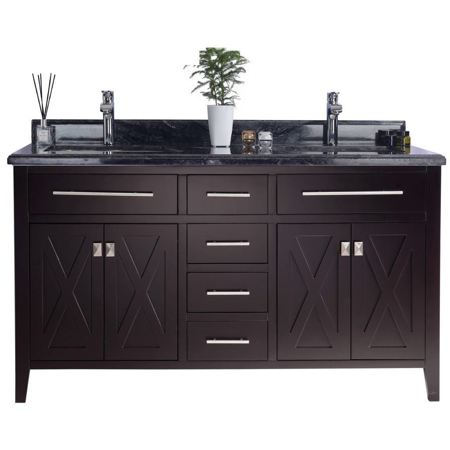 Wimbledon - 60 - Brown Vanity and Black Wood Counter by Laviva
