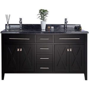 Wimbledon - 60 - Espresso Vanity and Black Wood Counter by Laviva