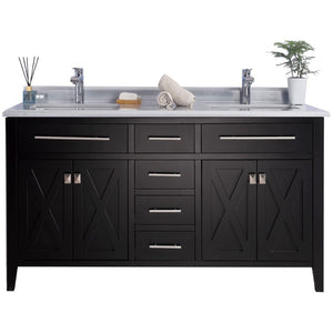 Wimbledon - 60 - Espresso Vanity and White Stripes Counter by Laviva