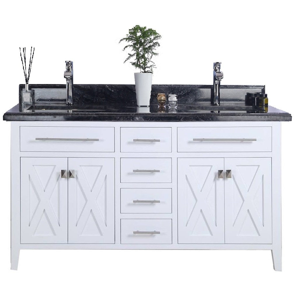 Wimbledon - 60 - White Vanity and Black Wood Counter by Laviva