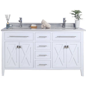 Wimbledon - 60 - White Vanity and White Stripes Counter by Laviva