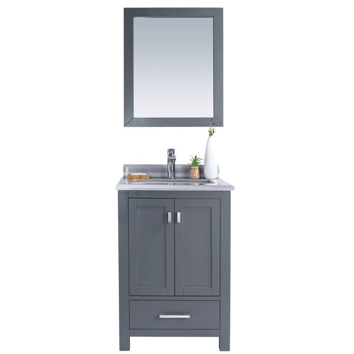 Wilson 24 - Grey Vanity and White Stripe Countertop by Laviva