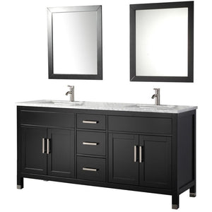 "MTD Vanities Ricca 72"" Double Sink Bathroom Vanity Set, Espresso"