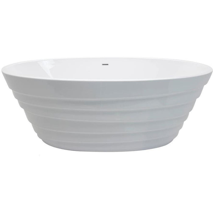 Glossy White Acrylic Oval Freestanding Bathtub - Anzzi Nimbus- 66.75 in