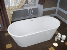Glossy White Acrylic Oval Freestanding Bathtub - Anzzi Dover 5.6 ft