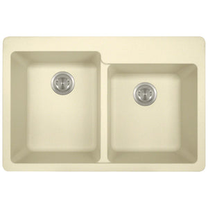 P108TBE Double Offset Bowl Topmount AstraGranite Sink by Polaris