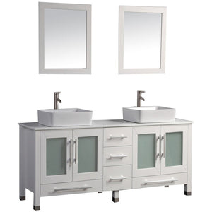 "MTD Vanities Malta 61"" Double Sink Vanity Bathroom Set, White"